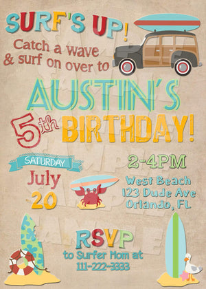 Surf Party Birthday Invitation - Beach Party Invitation - Printable (Digital File Only)-Digital Download, Printable File, Invitation-Forever Fab Boutique