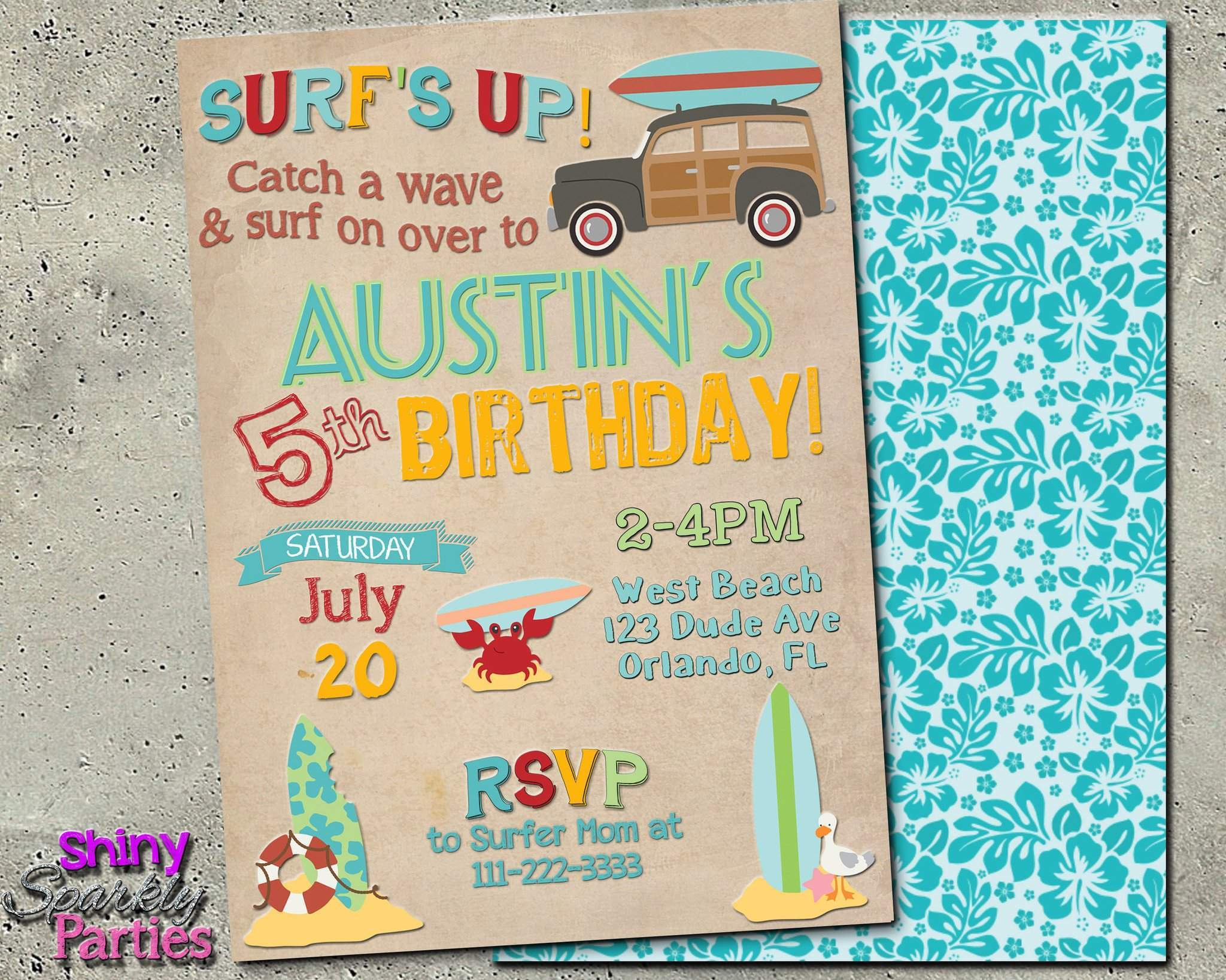 surf party birthday invitation beach party invitation forever