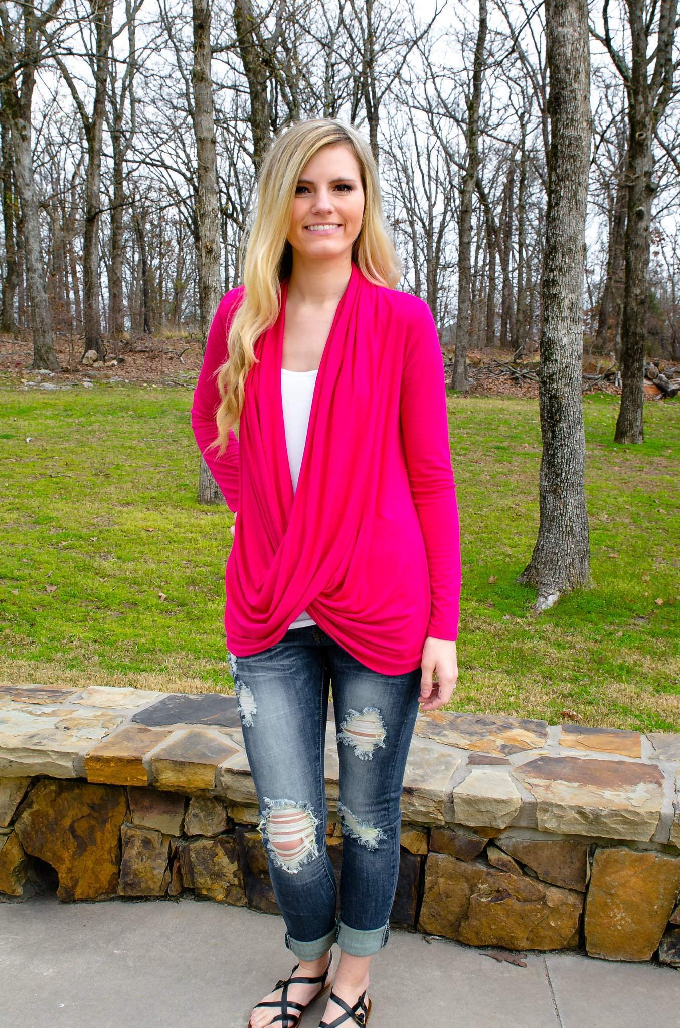 8f45605512784 That s A Wrap Criss Cross Top Hot Pink-Women s Top-Forever Fab Boutique