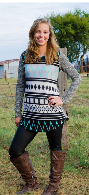 Tribal Glam Tunic Top Mint-Top-Forever Fab Boutique