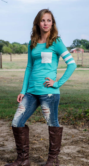 Varsity Blues Top Mint-Top-Forever Fab Boutique