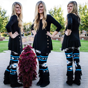 Warrior Princess Tribal Print Leggings Blue-Bottom-Forever Fab Boutique