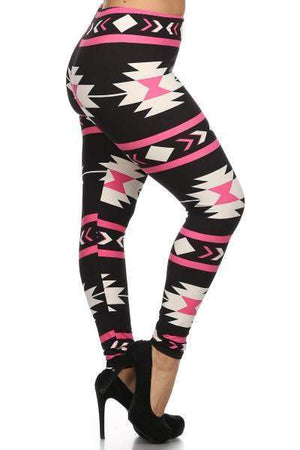 Warrior Princess Tribal Print Leggings Pink-Bottom-Forever Fab Boutique