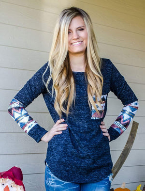 Watch Me Sparkle Sequin Top Navy-Top-Forever Fab Boutique