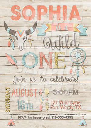Wild One Birthday Invitation - Girl - Printable (Digital File Only)-Digital Download, Printable File, Invitation-Forever Fab Boutique