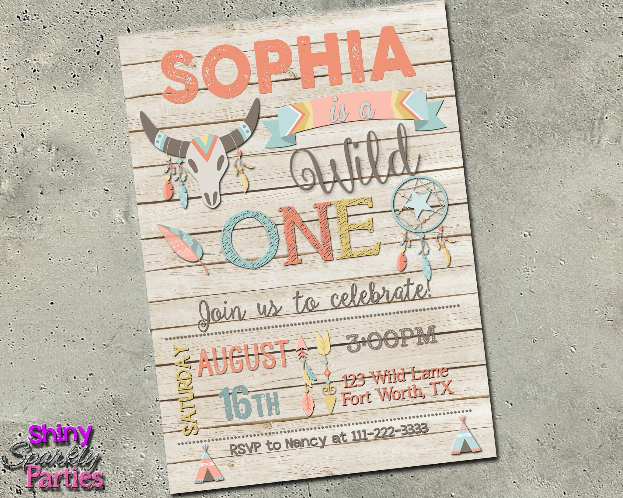 wild one birthday invitation girl forever fab boutique