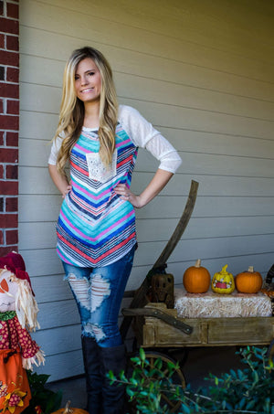 Zig Zag Rainbow Knit Top-Top-Forever Fab Boutique