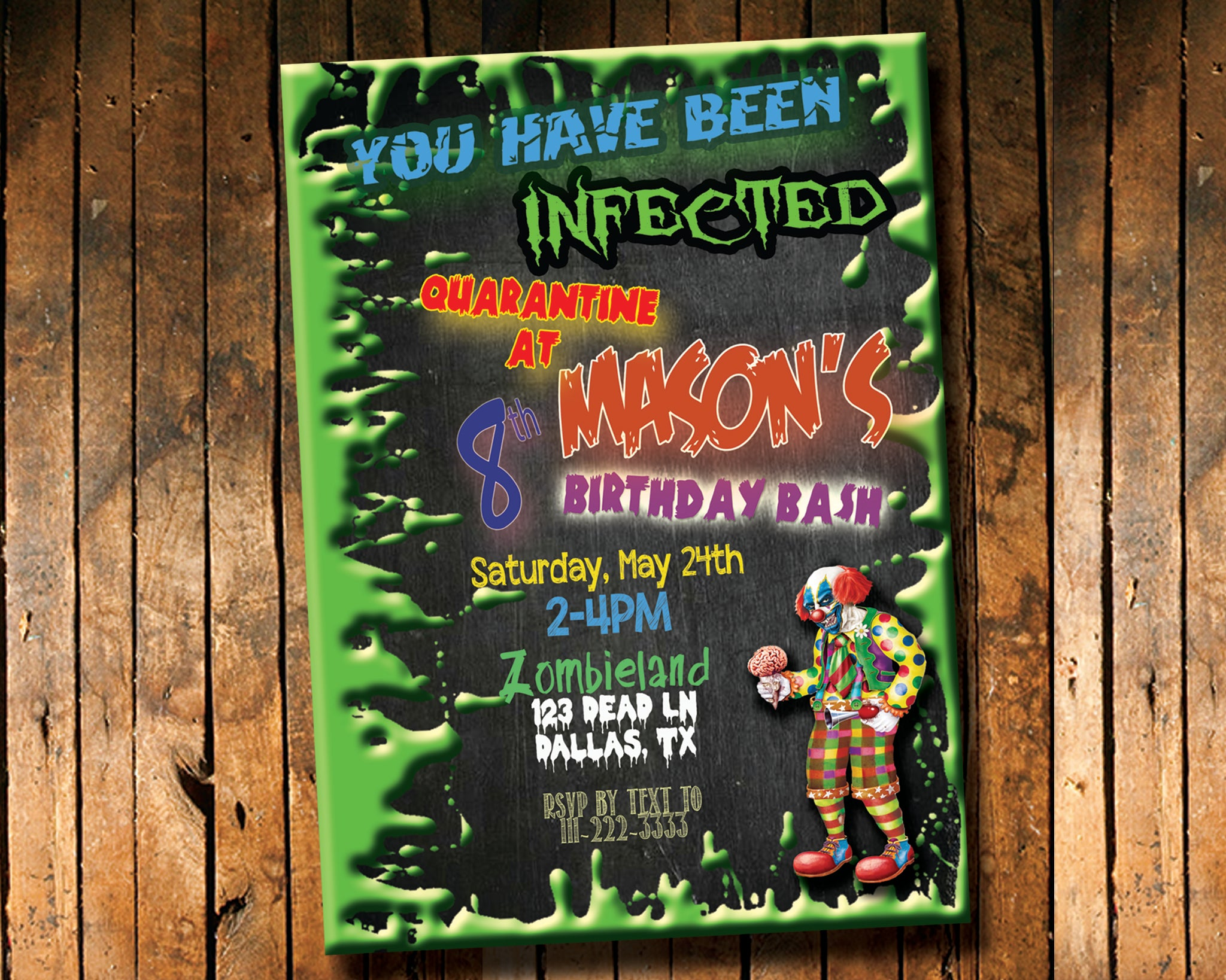 Zombie birthday invitation forever fab boutique zombie birthday invitation digital download printable file customized party invitation forever fab stopboris Gallery