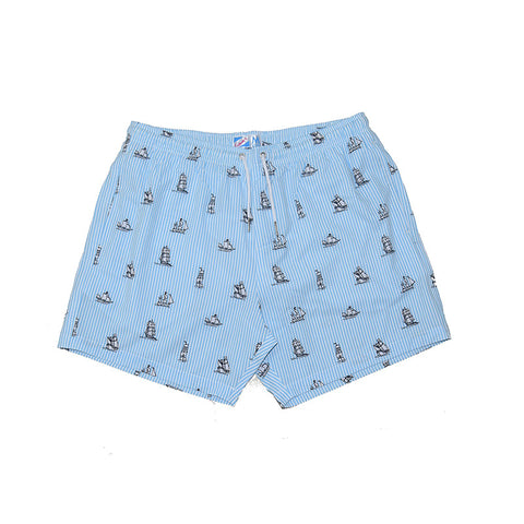 Bermies Trunks Striped Ship Light Blue Classics