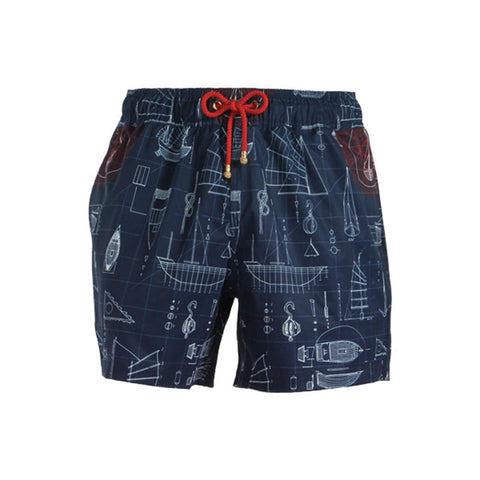 Mazu Swimwear Trunks Blueprints Blue