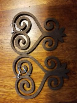 Wooden Sankofa Earrings - Adelani Treasures