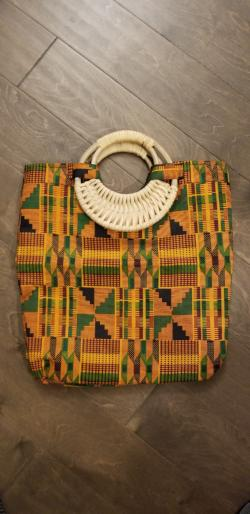 Wood Handle kente Print Tote