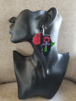 Rbg Africa Map Earrings