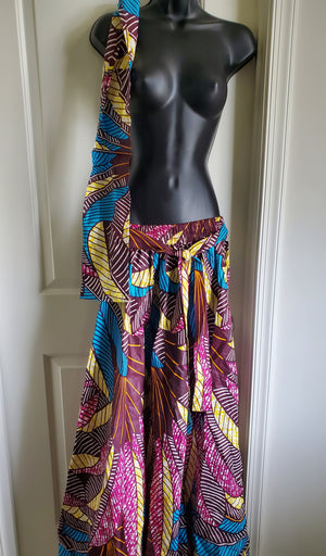 African Print Skirt and Headwrap Set - Adelani Treasures
