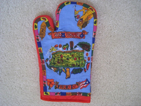 Set of 2 Puerto Rico Quilted Cotton Hand Mitt Glove With Map Hand Mitt, Agarradera - MyBorinquen.com Web Store