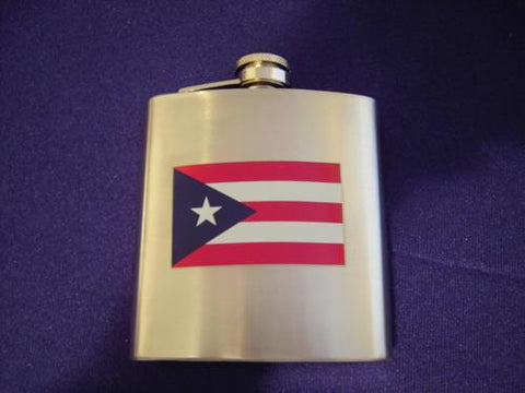 Pocket Metal Flask With Puerto Rico Flag Flask - MyBorinquen.com Web Store