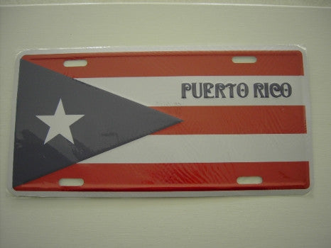 Puerto Rico Flag with Puerto Rico Word License Plate License Plate - MyBorinquen.com Web Store