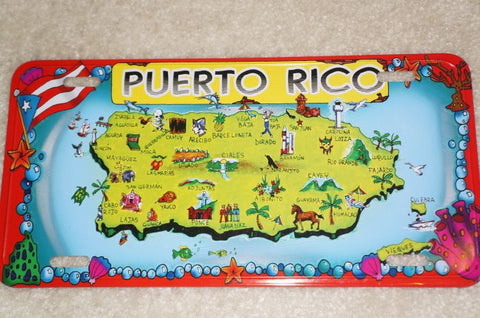 Puerto Rico Map and Towns License Plate License Plate - MyBorinquen.com Web Store