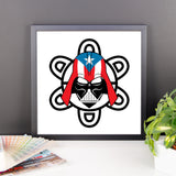 Puerto Rico Darth Vader with PR Flag and Taino Sun. Framed photo paper poster