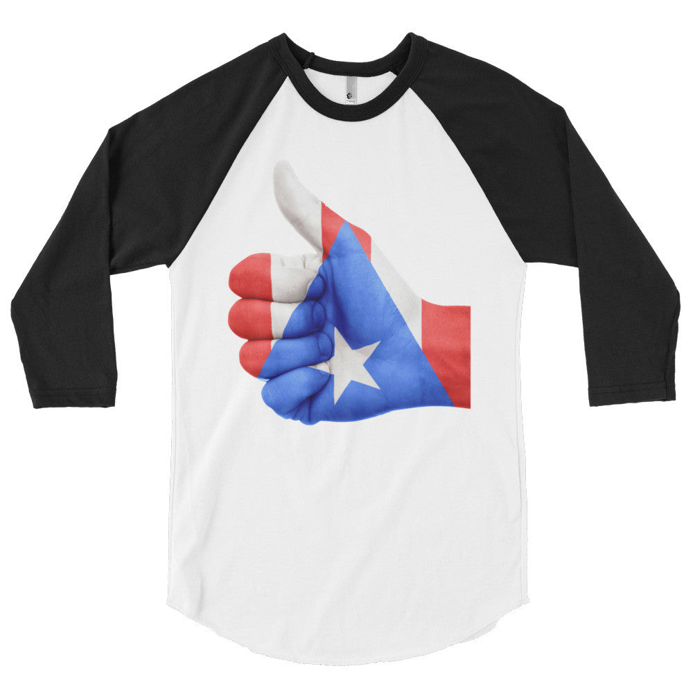 Puerto Rico Flag Thumbs Up Hand 3/4 sleeve raglan shirt Long Sleeve - MyBorinquen.com Web Store