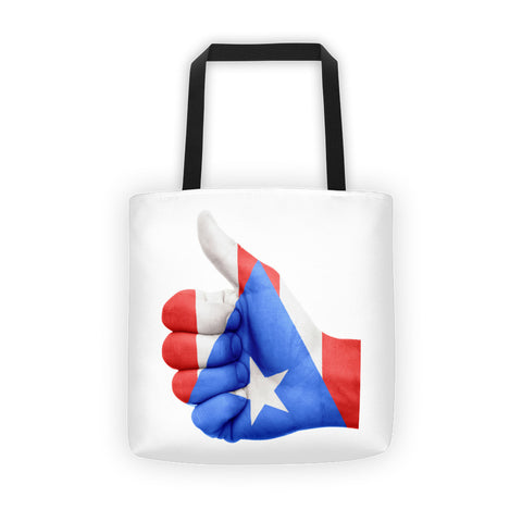 Puerto Rico Flag Thumbs Up Hand Tote bag Bag - MyBorinquen.com Web Store