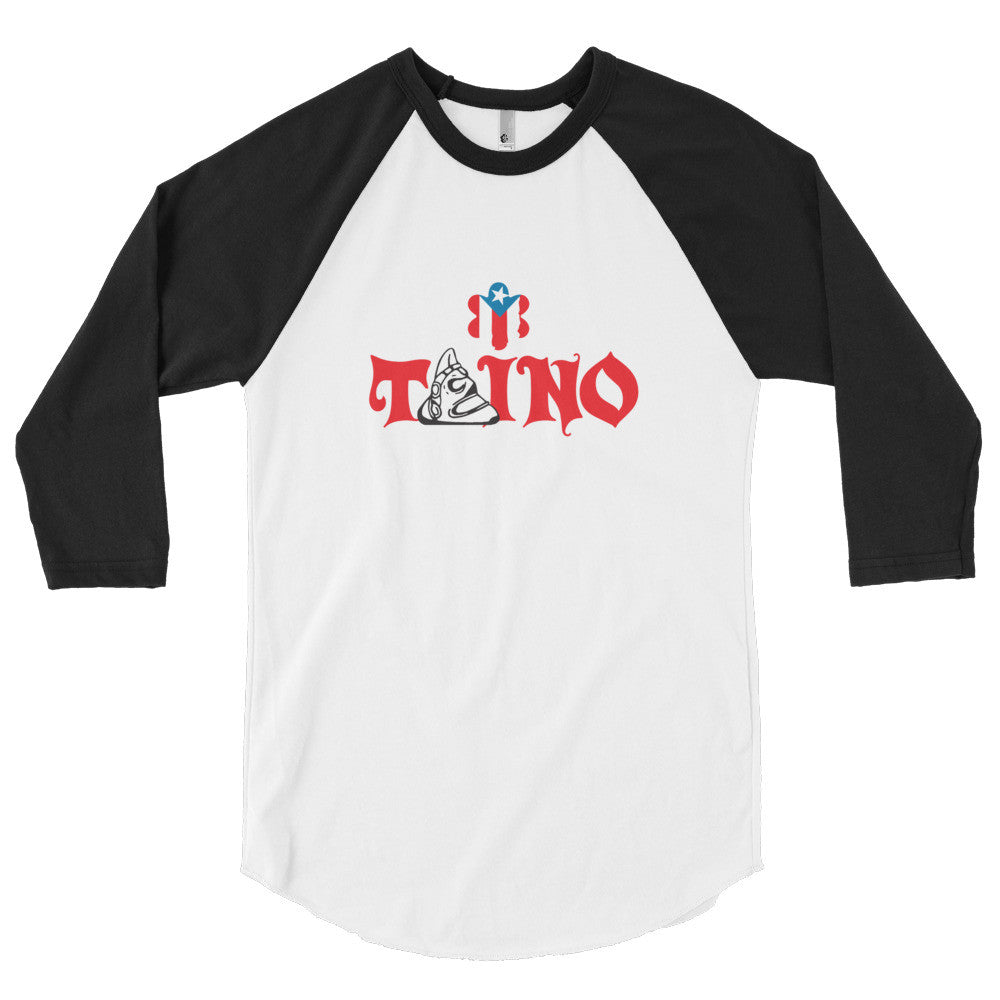 Taino and Puerto Rico Flag 3/4 sleeve raglan shirt Long Sleeve - MyBorinquen.com Web Store