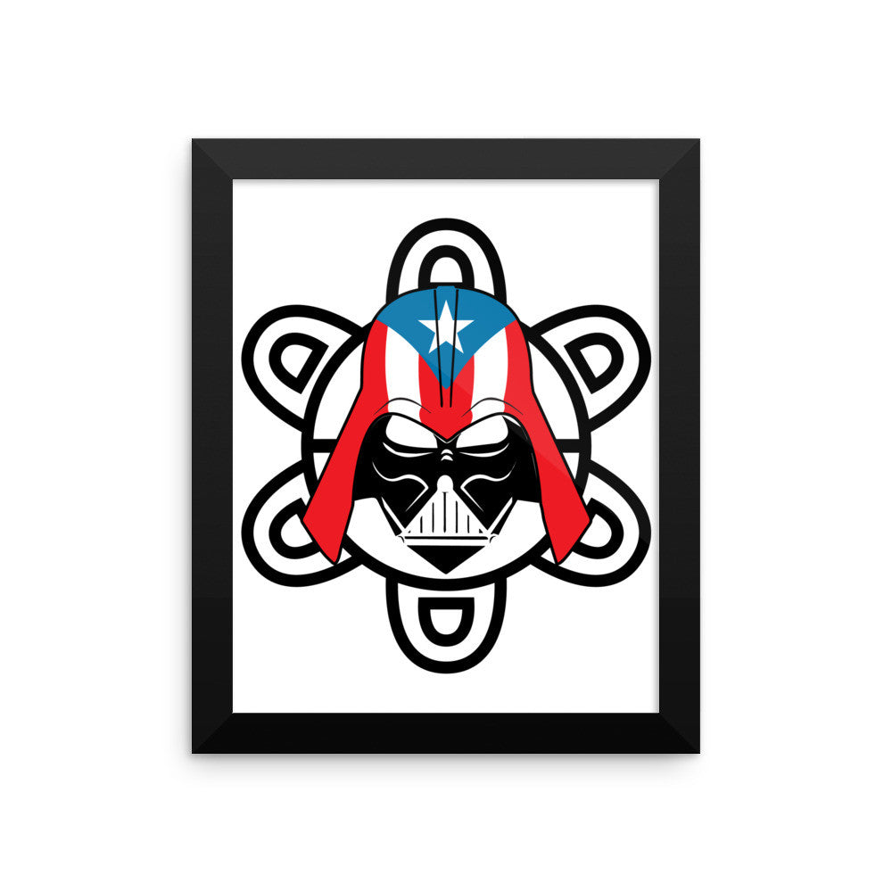 Puerto Rico Darth Vader with PR Flag and Taino Sun. Framed photo paper poster Frame - MyBorinquen.com Web Store