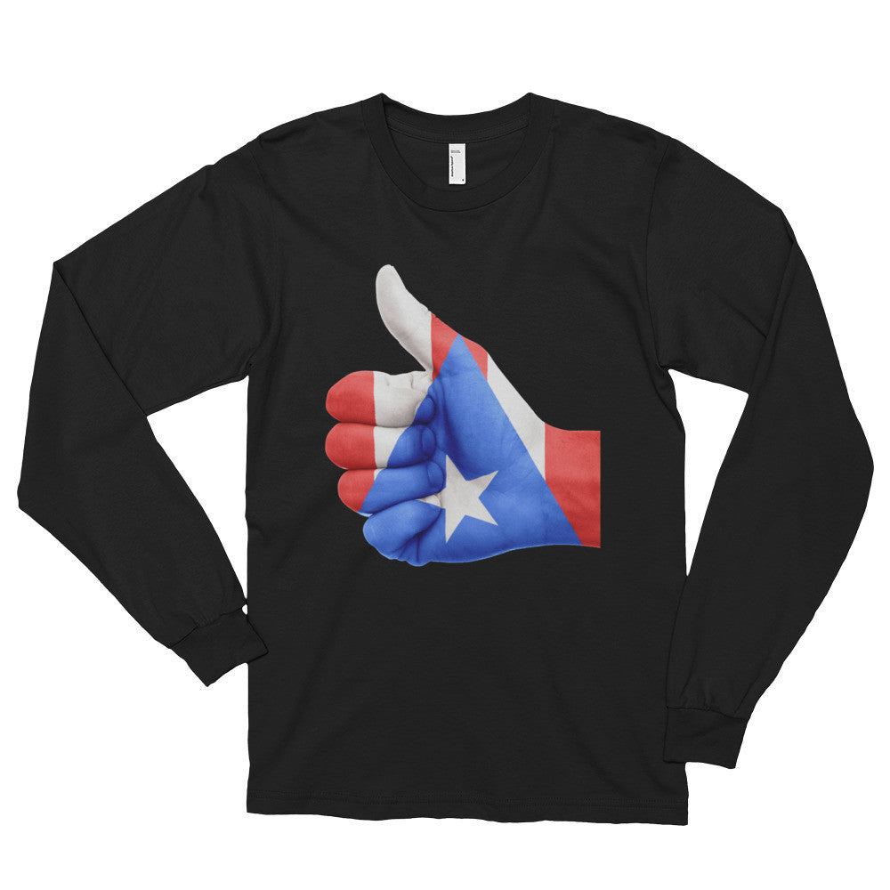 Puerto Rico Flag Thumbs Up Long sleeve t-shirt (unisex)