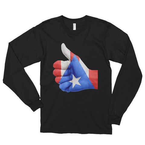 Puerto Rico Flag Thumbs Up Long sleeve t-shirt (unisex) Long Sleeve - MyBorinquen.com Web Store