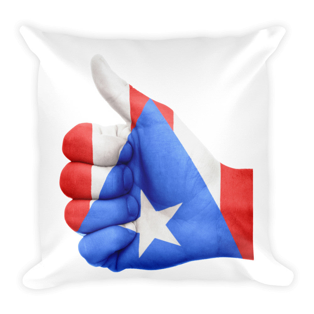 Puerto Rico Flag Thumbs Up Hand Square Pillow Pillow - MyBorinquen.com Web Store