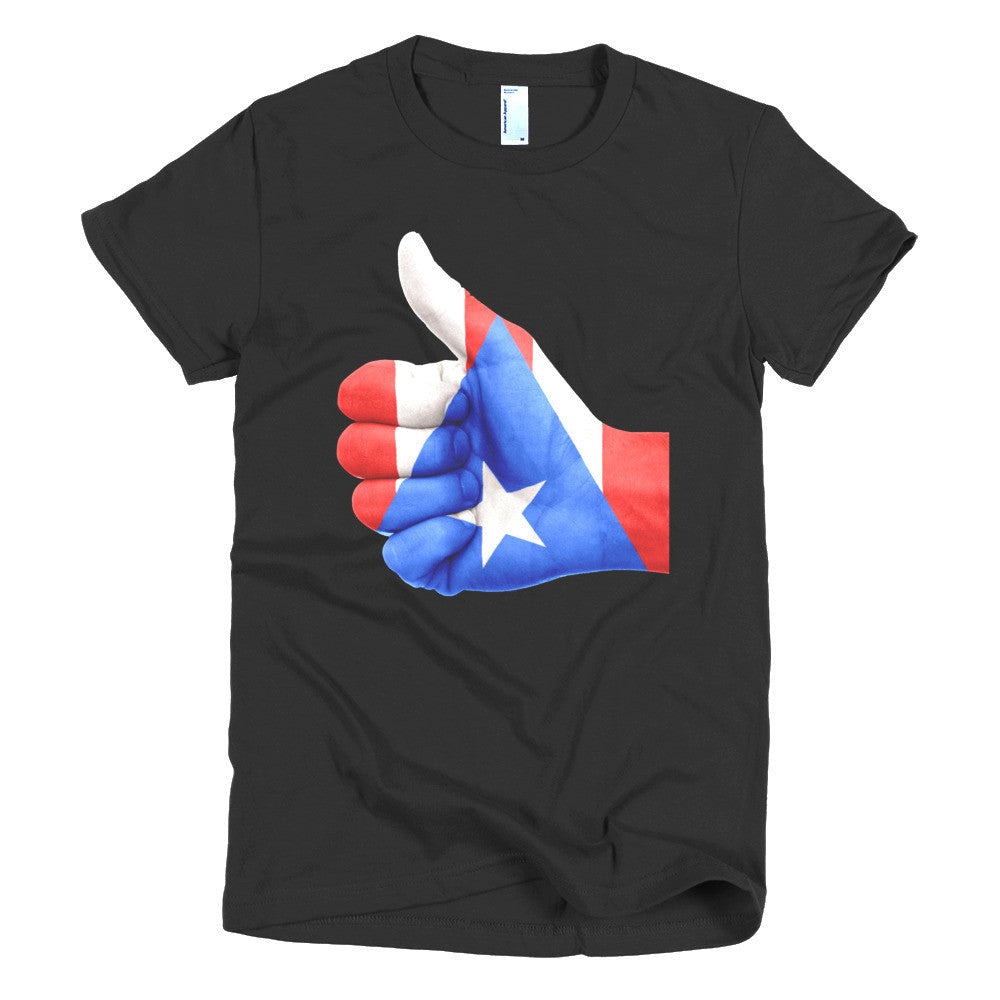 Puerto Rico Flag Thumbs Up Hand Short sleeve women's t-shirt