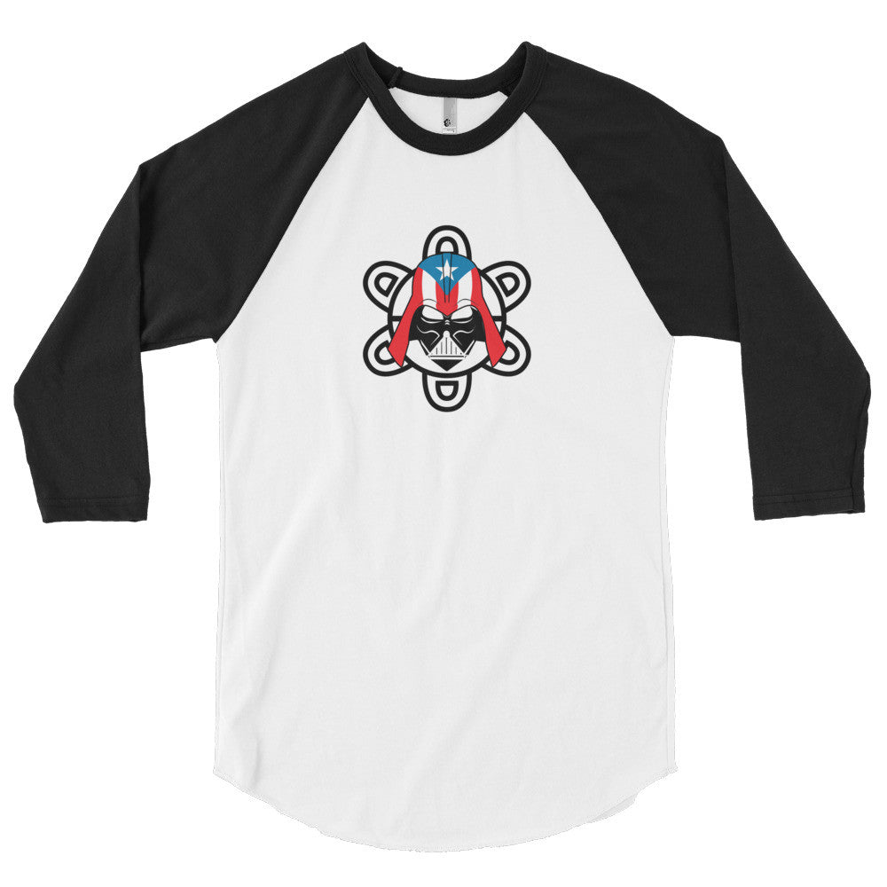Puerto Rico Darth Vader with PR Flag and Taino Sun 3/4 sleeve raglan shirt Long Sleeve - MyBorinquen.com Web Store