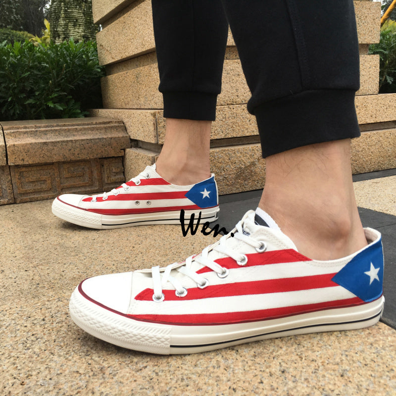 Wen- Design Custom Hand Painted Sneakers Puerto Rico Flag Men/Women Low Top Canvas Shoes Shoes - MyBorinquen.com Web Store