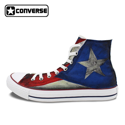 USA Puerto Rico Flag Converse All Star Custom Design Hand Painted High Top Unisex Shoes/Sneakers Shoes - MyBorinquen.com Web Store