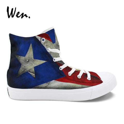 Wen - Puerto Rico Flag Hand Painted Vulcanize Shoes/Sneakers Canvas Graffiti Mens / Women Shoes - MyBorinquen.com Web Store