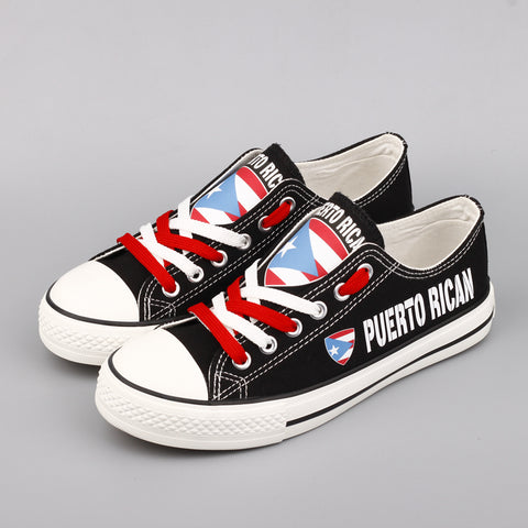 E-LOV Latest Design Canvas Shoes For Puerto Rican Print Puerto Rico Flag Casual Walking Shoes Shoes - MyBorinquen.com Web Store