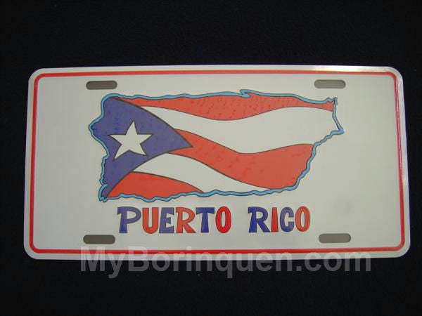 Puerto Rico Map and Flag License Plate License Plate - MyBorinquen.com Web Store
