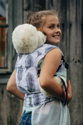 Lenny Lamb Doll Carrier- Painted Feathers - White & Navy Blue
