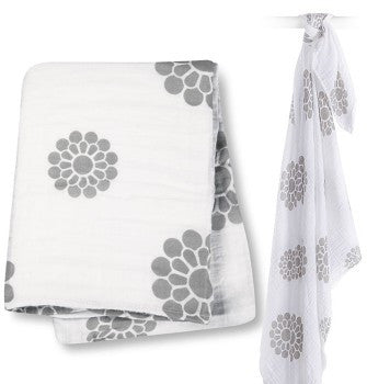 Lulujo Cotton Swaddle Blanket- Grey Peonies