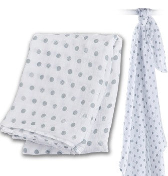 Lulujo Cotton Swaddle Blanket- Grey Polka-Dot