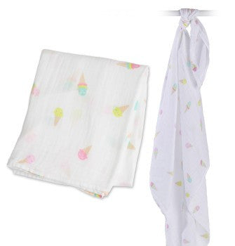 Lulujo Cotton Swaddle Blanket- Ice Cream Social
