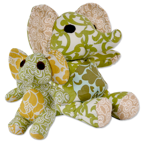 Scrappy Patchwork Elephant Stuffed Animal - Green