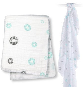 Lulujo Cotton Swaddle Blanket- Aqua Circles