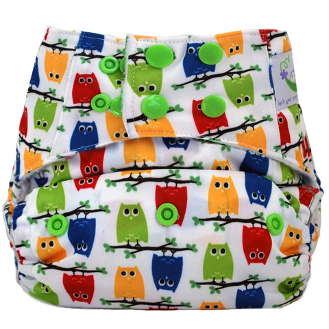 Sweet Pea Microfiber Pocket Diaper - Owls