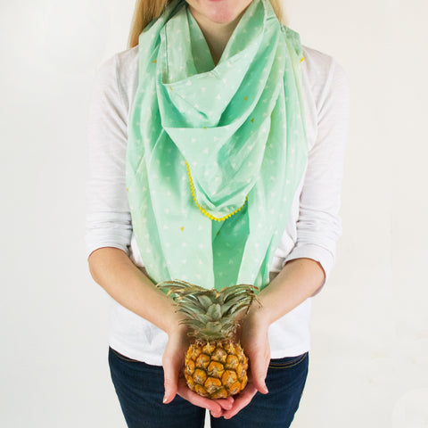 Logan and Lenora Boho Nursing Scarf- Pineapple Mint