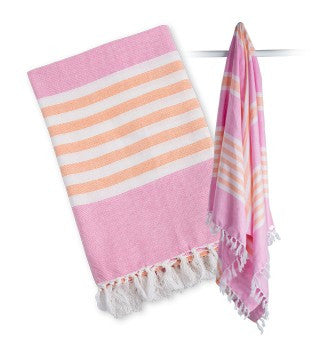 Lulujo Turkish Towel- Pink & Apricot
