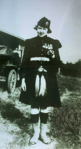 Kathleen Rowena Cameron dressed in her grandfathers military garb