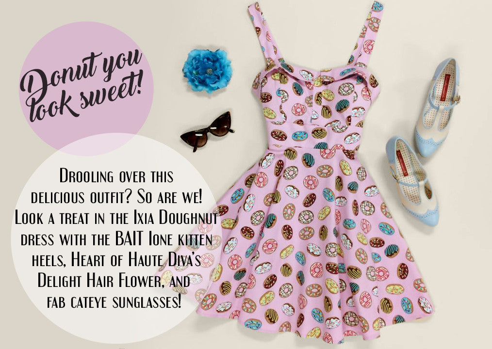 Donut you look sweet - Ixia Doughnut Dress, Heart of Haute Diva's Delight Hair Flower, BAIT Ione Kitten Heels, Cat Eye Sunglasses
