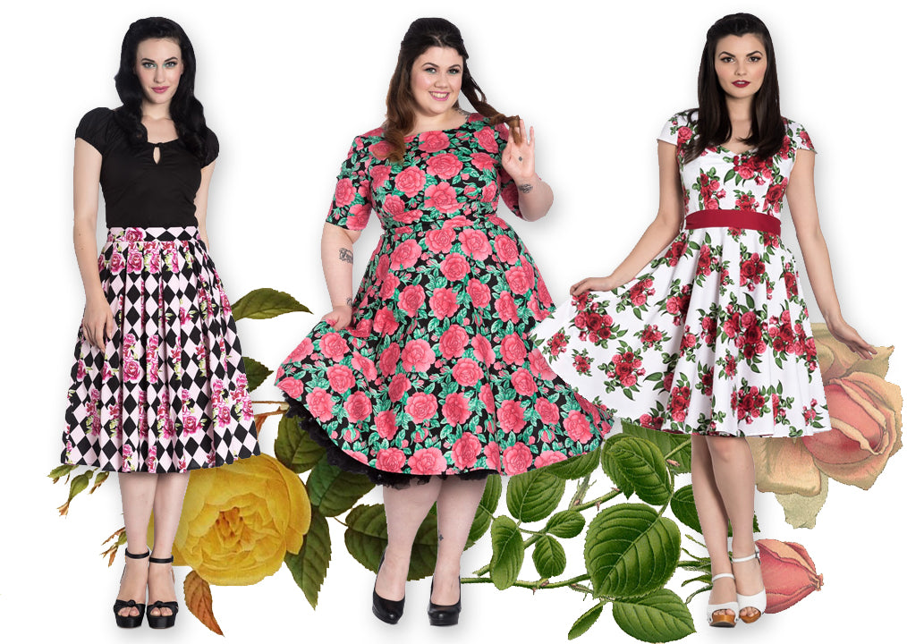 Hell Bunny Harlequin Rose Skirt, Darcy 50s Dress, and Lorene Dress