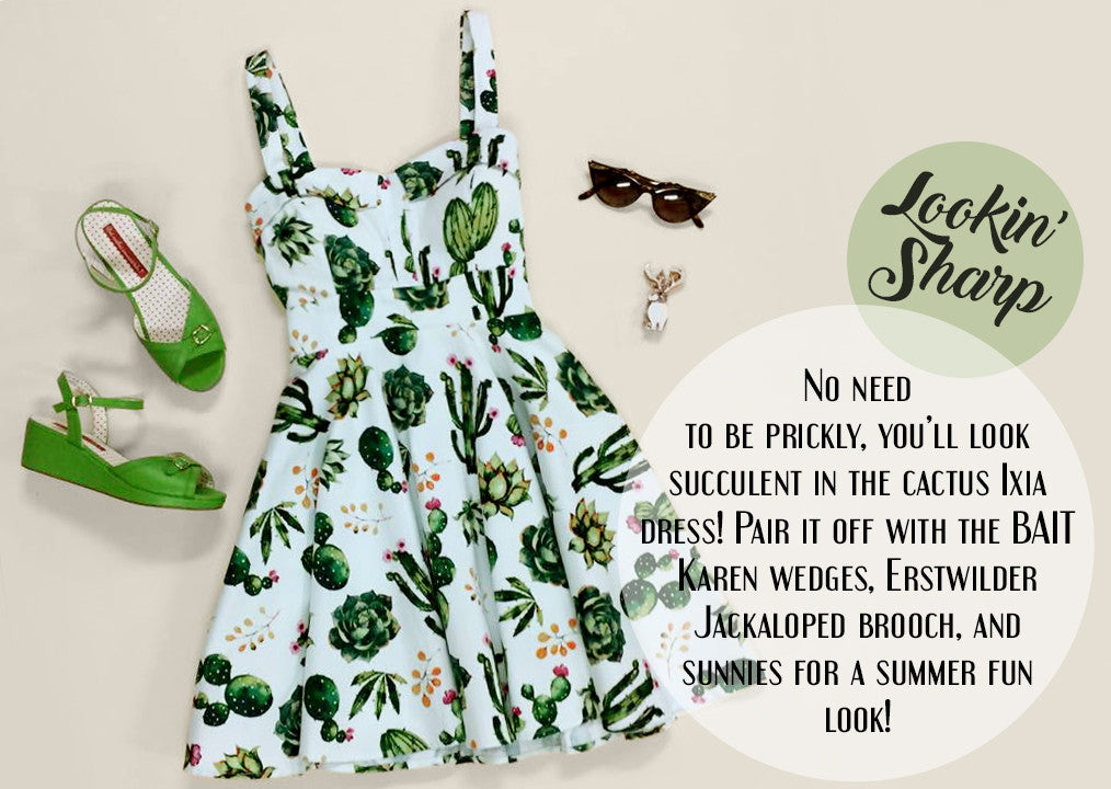 Lookin' Sharp - Ixia Cactus Dress, BAIT Karen Wedges, Erstwilder Jackaloped Brooch, and Cat eye Sunglasses